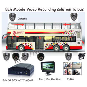 3G Mobile Surveillance 8CH Stand Alone Car DVR with 7inch Car Monitor pictures & photos