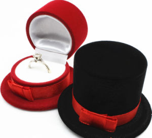 Flocking Hat-Shaped Ring Display Box (JB-022) pictures & photos