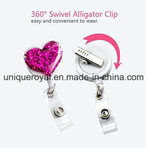 ID Heart Shaped Badge Reels with Alligator Clip for Nurses