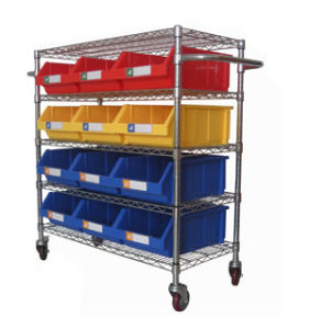 Durable Wire Shelving Trolley with Bins Unit (WST3614-003) pictures & photos