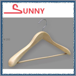 Wooden Suit Hanger for Display with Round Bar