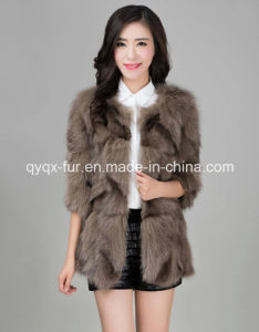 Women′s Winter Warm 100% Fox Fur Long Coat Gradient Color