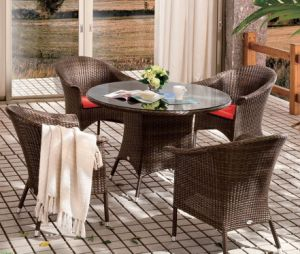Outdoor Patio Wicker Home Hotel Office Garden Canberra Dining Set Table and  Chair (J642)