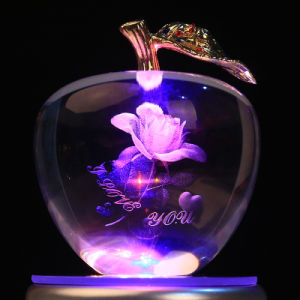 Hot Sale Crystal Apple Craft for Home Decoration pictures & photos