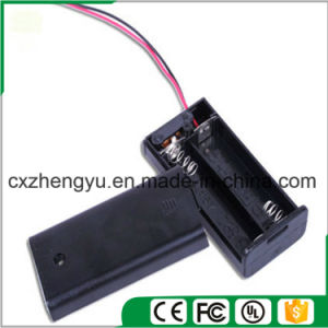 2AA Battery Holder with Red/Black Wire Leads, Cover and Switch