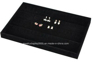 Stackable Black Soft Velvet Jewelry Tray Earring Showcase Display Storage