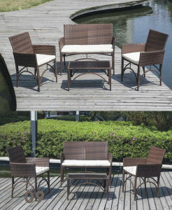 4PC Patio Furniture Set Cushioned Outdoor Wicker Rattan Garden Chair pictures & photos