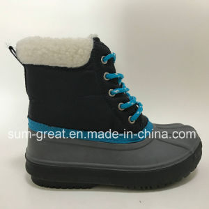 Warm Fashion Blue Kids and Women Cotton Boots with Top Quality