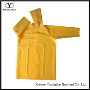 Reusable Waterproof PVC Long Raincoat with Button Style pictures & photos