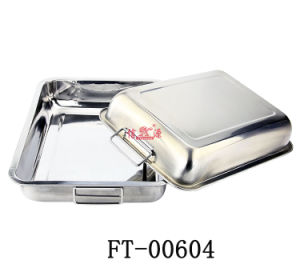 Stainless Steel Rectangle Tray with Handle (FT-00604)