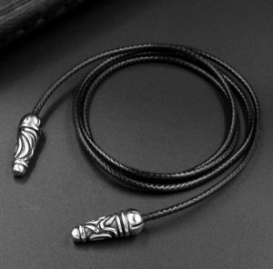Black Color 2.5mm Leather Woven Necklace 2 Size Fashion Accessories