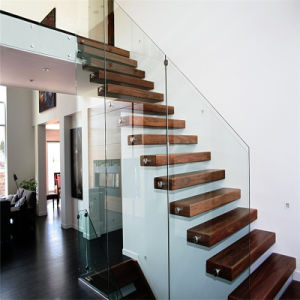 Invisible Beam U Shape Floating Staircase with Glass Balustrade pictures & photos