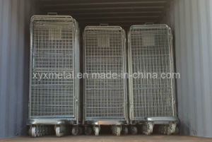 4 Sides Security Steel Wire Roll Trolley Cage pictures & photos