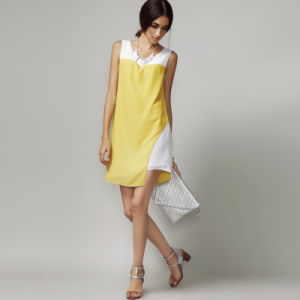Hot Sale Sleeveless 100% Chiffon Summer Stitching Dress pictures & photos