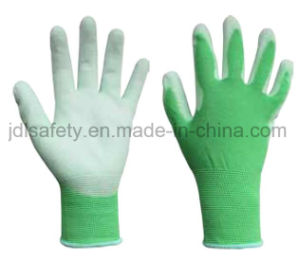 Green Safety Glove with PU Dipping (PN8004) pictures & photos