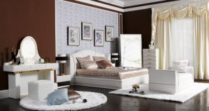 White Genuine Leather Bedroom Furnitur pictures & photos
