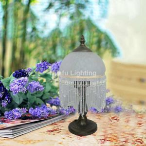 Beaded Art Deco Glass Shade Table Lamp Luminaires Hand Painted Reverse Painting Glass Lamp Interior Lighting Victorian Style Lamp