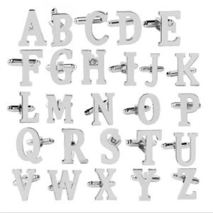 Men′s Initial Cufflinks Fathers Day Wedding Birthday Gift Alphabet Letter Cuff Links