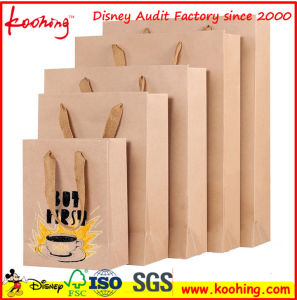 Printed Kraft Paper Bag 150GSM with Flat Paper Handles pictures & photos