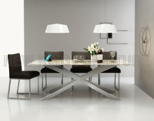China Modern Stainless Steel Dining Table Designs With Marble Desktop NK DT201 3