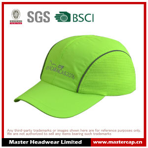 Shiny Green Polyester Mesh Sports Cap with Embroidery
