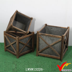 Vintage Zinc Wooden Antique Indoor Square Planter Flower Pots pictures & photos