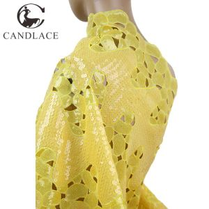 New Arrival Yellow Color Handcut Double Organza Lace pictures & photos