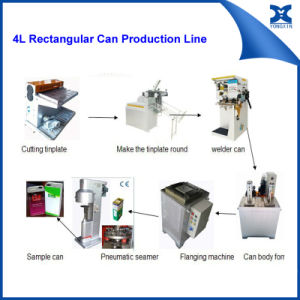 Semi Automatic Small Olive Oil Rectangular Can Packaging Line pictures & photos