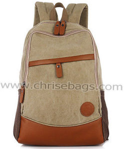 Student Multifuntional Canvas Backpack with Leather Contrast