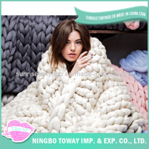 Hand Knitting Long Wool Crochet China Acrylic Blanket pictures & photos