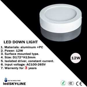 3 Years Warrenty 12W Round LED Down Light Surface Mounted