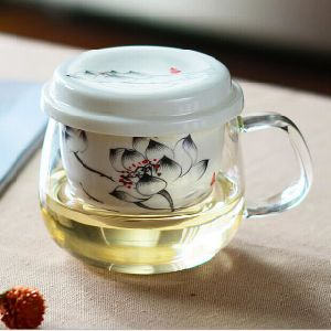 Flower Pattern Tea Cup with Ceramic Infuser High Borosilicate Glass Tea Cup pictures & photos