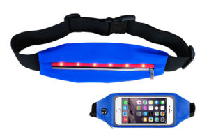 safety LED Waist Bag for Running Jogging, Convenient Waistbag for Packing Smart Phone, ID Cards