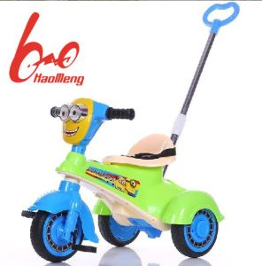 Cartoon Style Baby Tricycle with Push Handle