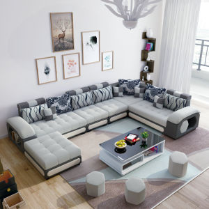 White Color U Shape Modern Sectional Sofa Couch Chaise (S889)