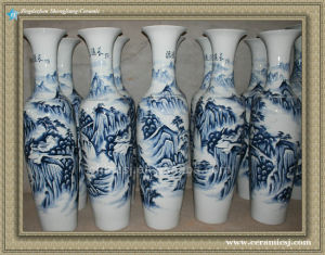 Large Chinese Hand Painted Blue And White Ceramic Floor Vase China