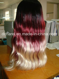 Ombre Color Kenekalon Fiber Full Machine Made Wigs pictures & photos