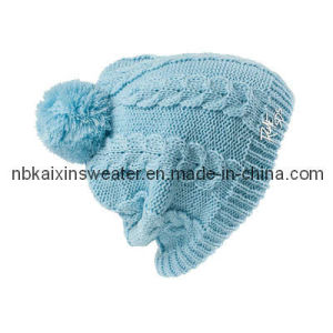 Lady′s Blue Jacquard Knitting Hat (KX-A29)
