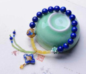 2 Natural Crystal Lapis Lazuli Bracelet Beeswax 8mm Colourful Jewellery