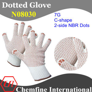 7g White Polyester/Cotton Knitted Glove with 2-Side Brown C-Shape NBR Dots pictures & photos