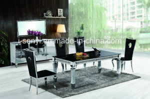 Patent Tempered Glass Or Imitated Wood Top Stainless Steel Dining Table