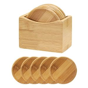 China 5 Piece Round Bamboo Wood Coaster Set With Holder Caddy Gift Box Stand China Wood Coaster And Bamboo Coaster Price