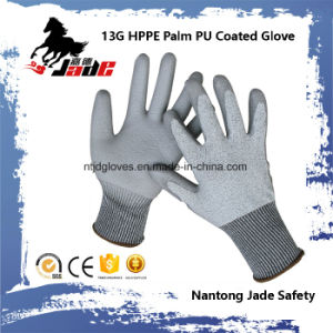 13G PU Coated Cut Resistant Work Gloves Level Grade 3 and 5 pictures & photos