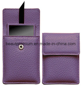 New Design Rectangle Pocket Make up Mirror with Purple PU Bag Set BPS073