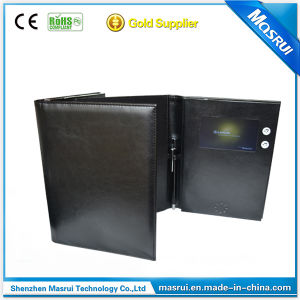 4.3inch LCD Promotion Brochures Video Greeting Cards with Leather
