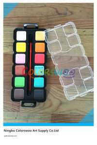 12 Color 3.0cm Square Water Color Cake with Brush for Painting and Drawing pictures & photos
