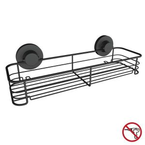 Bath and Kitchen Rack, Matt Black. Steel, Stainless Steel, Super Suction Cup