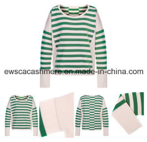 Women′s Pure Cashmere Knitwear with Green Stripes