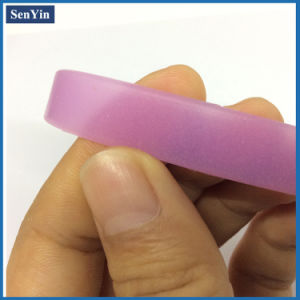 Pink Translucence Printed Logo Silicone Promotional Bracelet pictures & photos