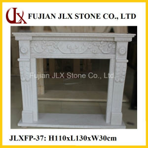 Hand Carving White Marble Classic Stone Fireplace